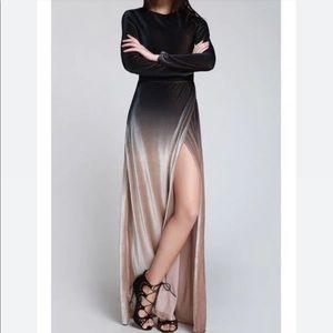 Zaful High Slit Ombre Maxi Velvet Dress - Black